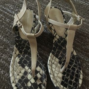 Snake print patent leather wedge